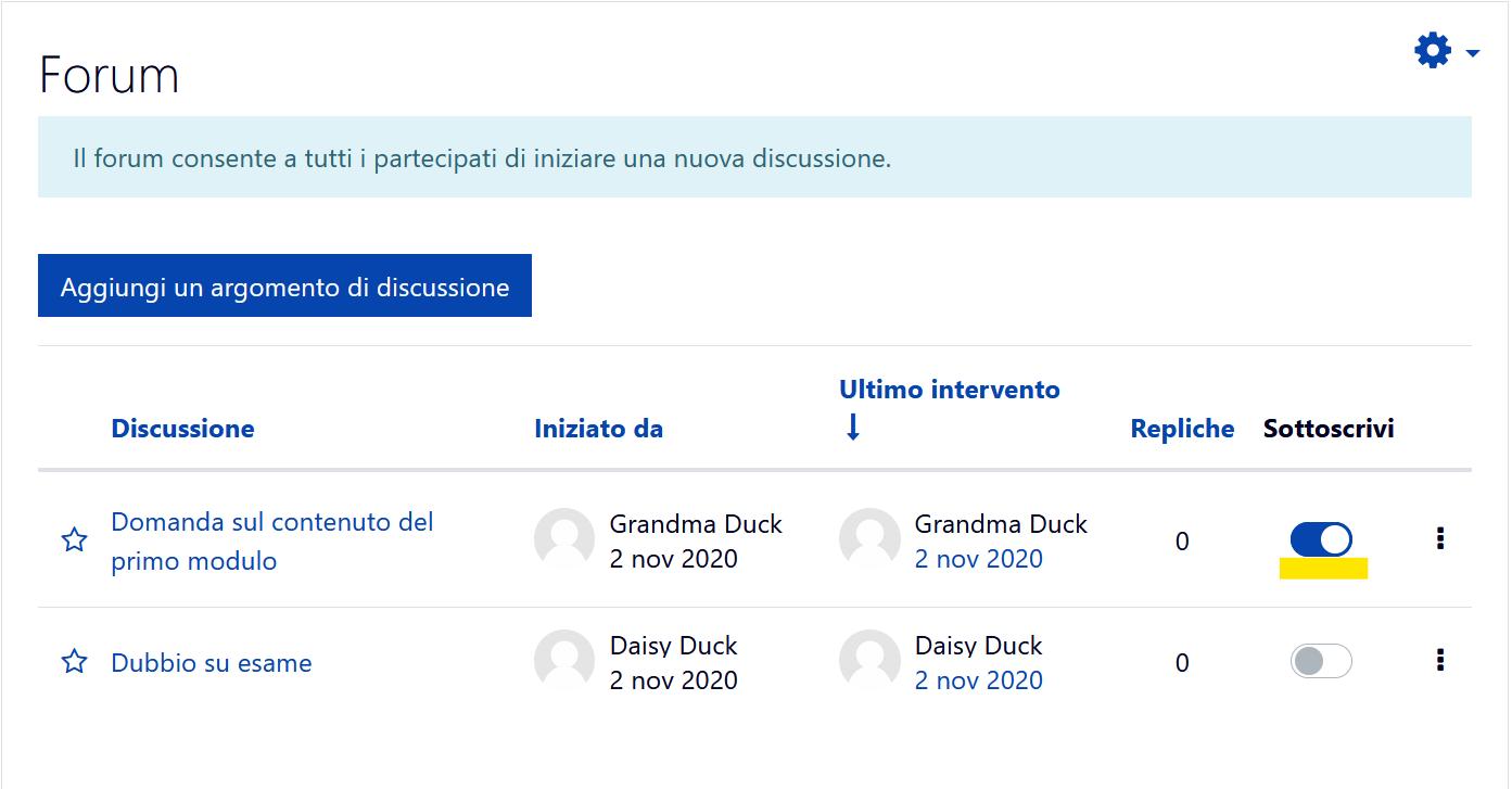 sottoscrivere discussione forum